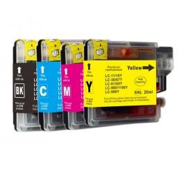 LC-980/LC-1100 Brother Compatible Voordeelverpakking B/Y/M/C
