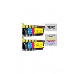 LC-980/LC-1100 Brother MultiPack 10 stuks  B*4/Y*2/M*2/C*2 (huismerk)
