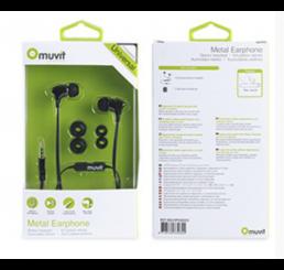 muvit In-Ear Flat Cable Metal Headphone Black Gunmetal