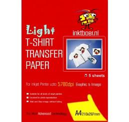 Transfer Papier voor lichte kleding (5 vel)